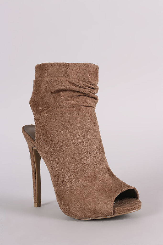 Wild Diva Lounge Suede Ruched Peep toe Mule Booties - Rich Girl's Closet - 13