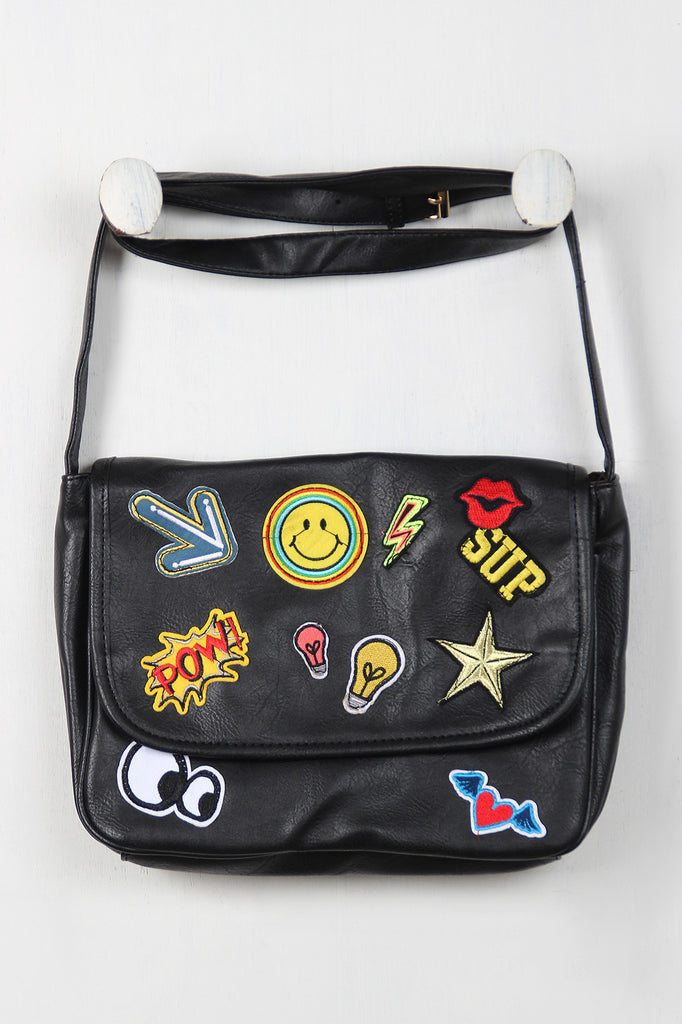 Graphic Patch Messenger Bag - Rich Girl's Closet - 1