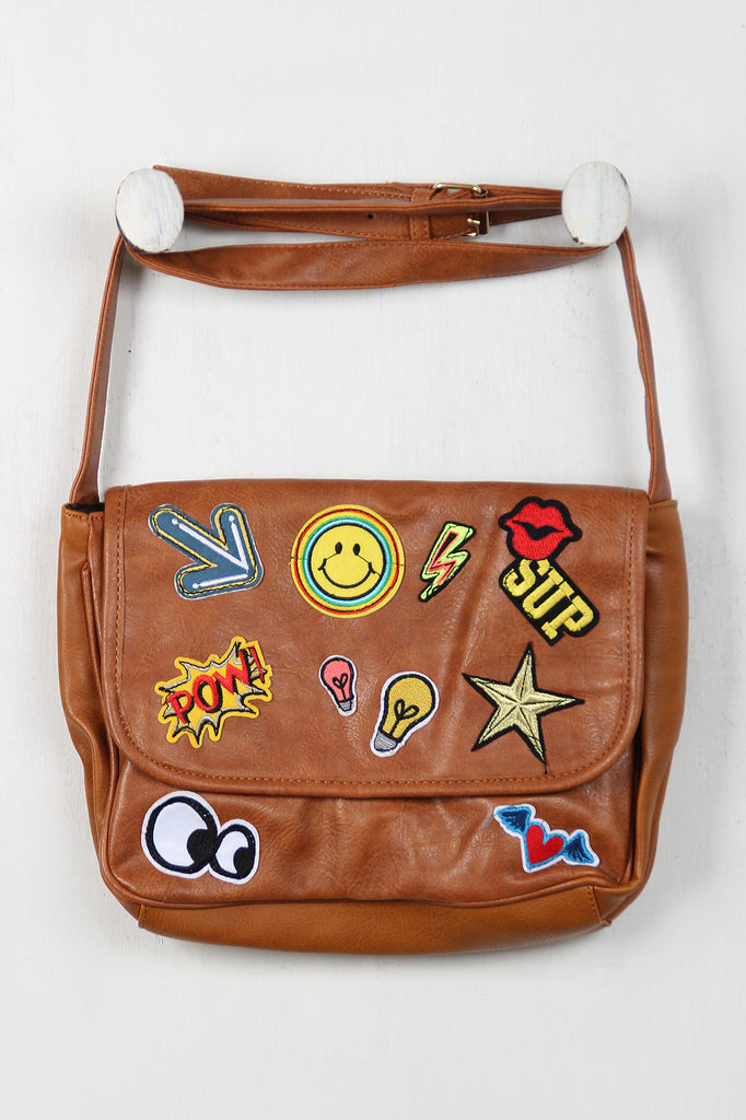 Graphic Patch Messenger Bag - Rich Girl's Closet - 4