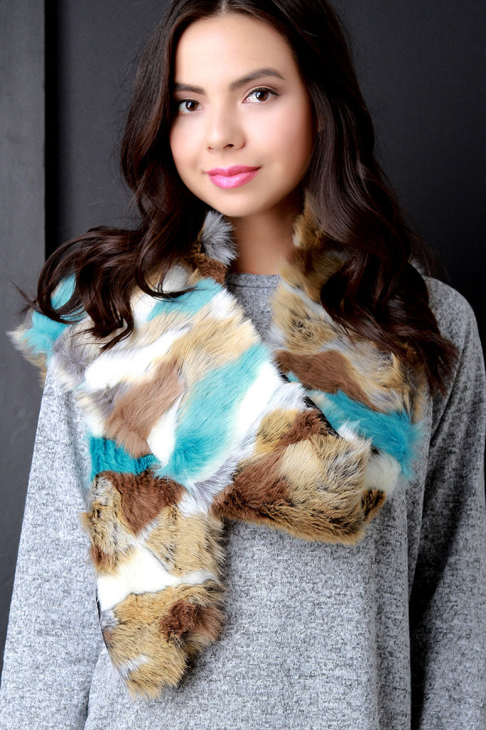 Colorful Fur Scarf - Rich Girl's Closet - 13