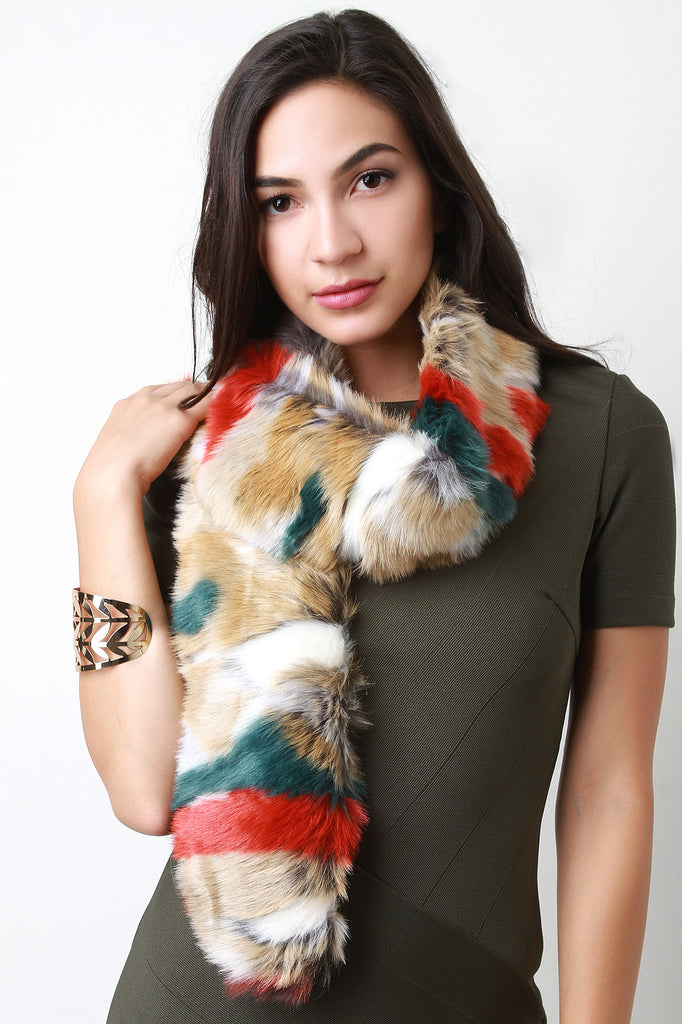 Colorful Fur Scarf - Rich Girl's Closet - 3