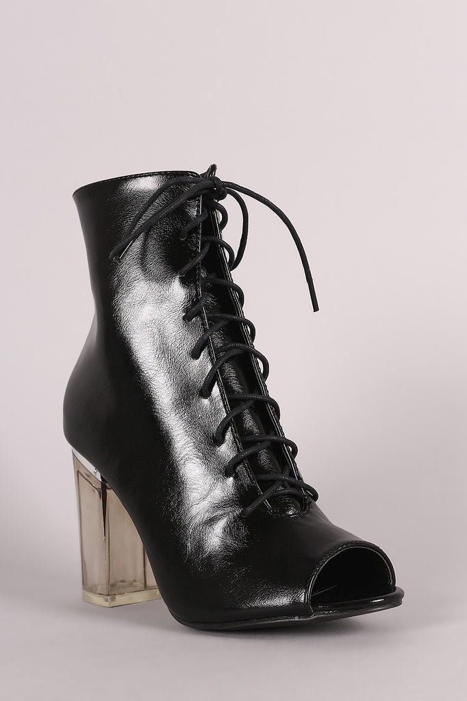 Peep Toe Lace Up Chunky Lucite Heeled Ankle Boots - Rich Girl's Closet - 5