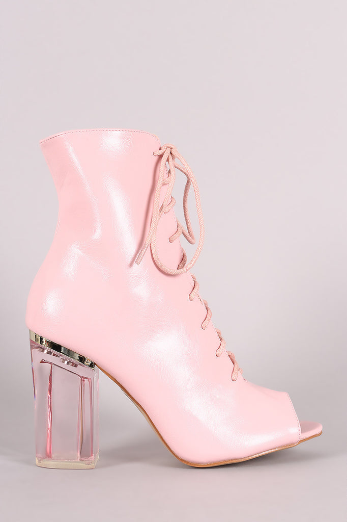 Peep Toe Lace Up Chunky Lucite Heeled Ankle Boots - Rich Girl's Closet - 11