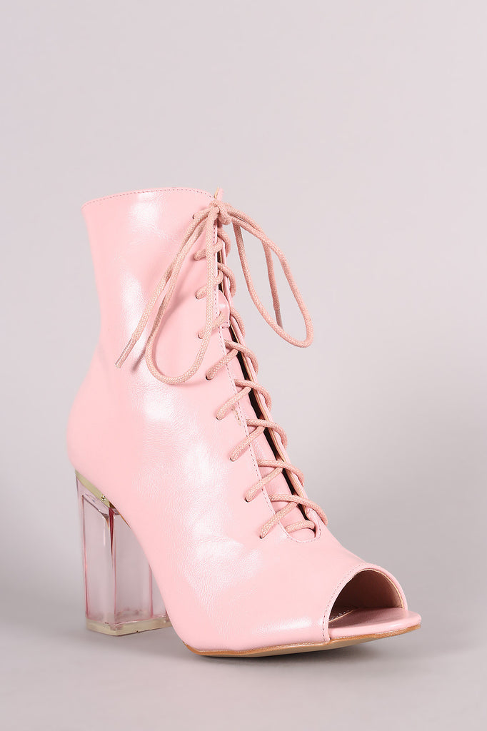 Peep Toe Lace Up Chunky Lucite Heeled Ankle Boots - Rich Girl's Closet - 12