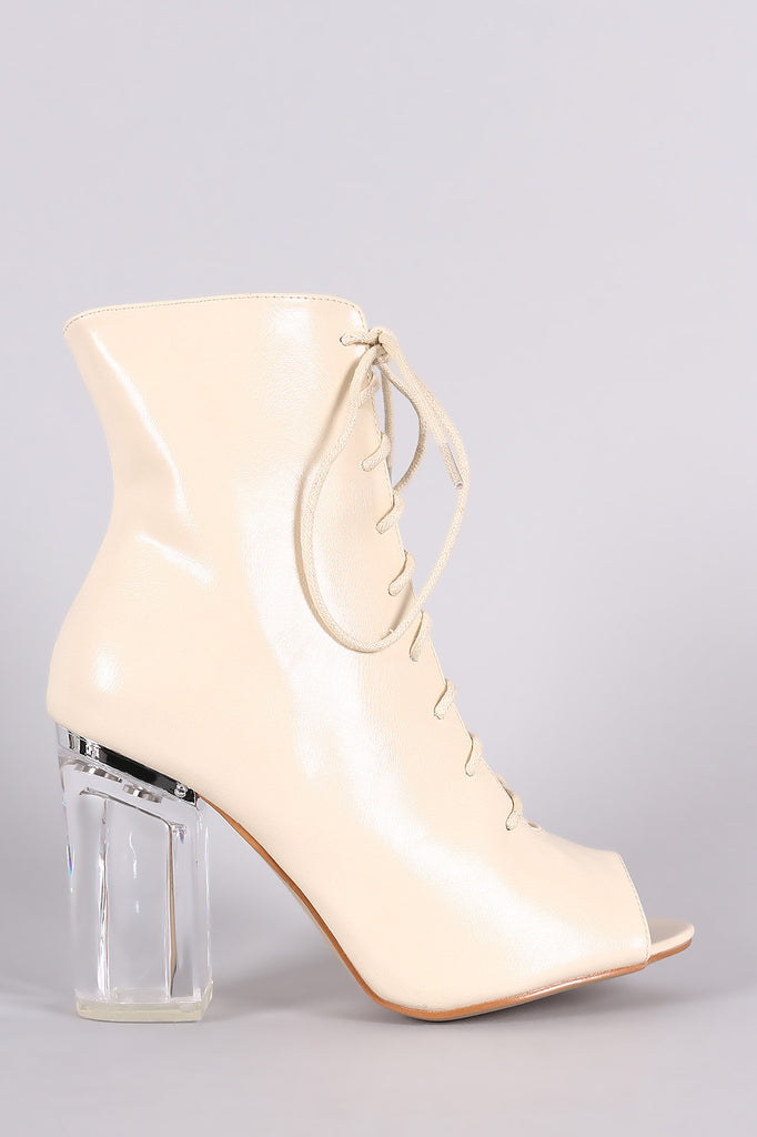 Peep Toe Lace Up Chunky Lucite Heeled Ankle Boots - Rich Girl's Closet - 7