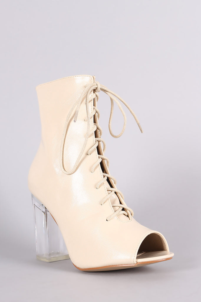 Peep Toe Lace Up Chunky Lucite Heeled Ankle Boots - Rich Girl's Closet - 8