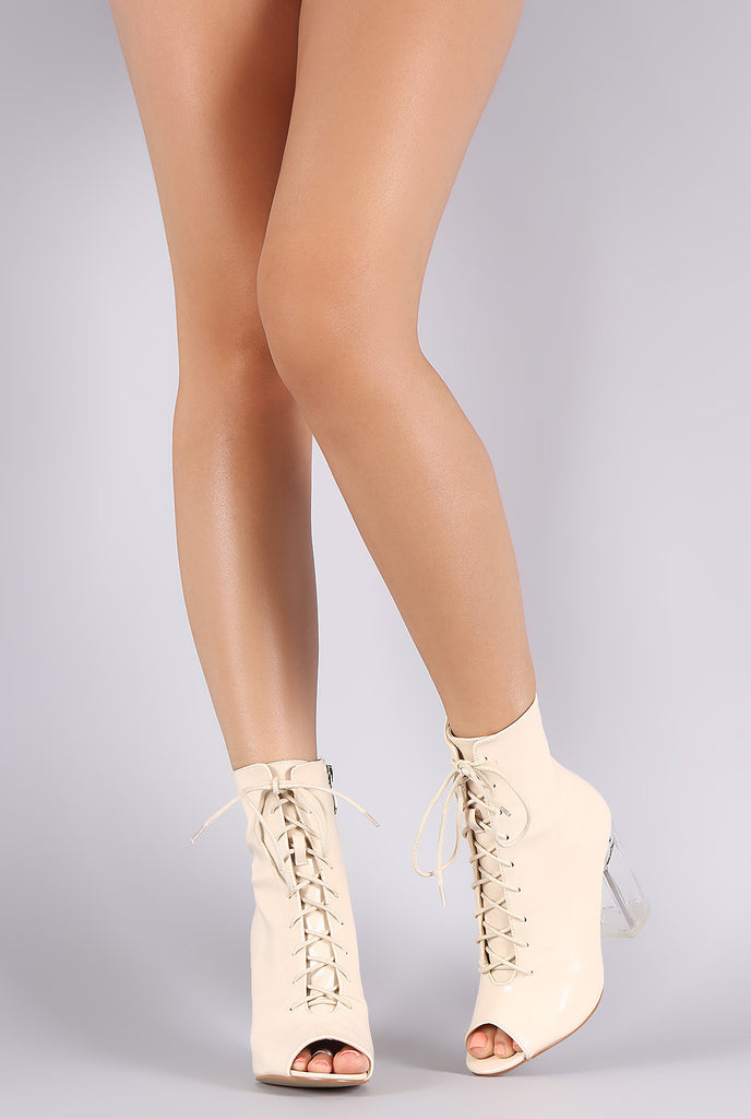 Peep Toe Lace Up Chunky Lucite Heeled Ankle Boots - Rich Girl's Closet - 9