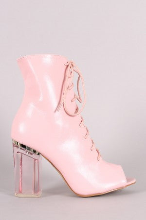 Peep Toe Lace Up Chunky Lucite Heeled Ankle Boots - Rich Girl's Closet - 10
