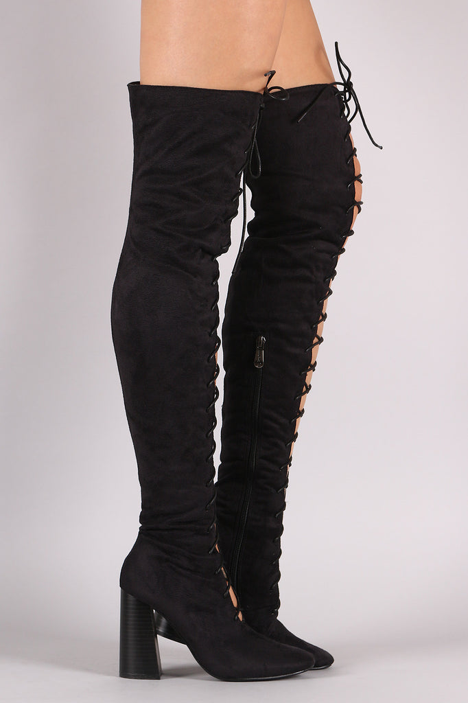 Suede Lace Up Chunky Heeled Over-The-Knee Boots - Rich Girl's Closet - 8