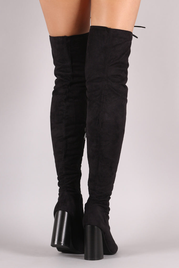 Suede Lace Up Chunky Heeled Over-The-Knee Boots - Rich Girl's Closet - 9