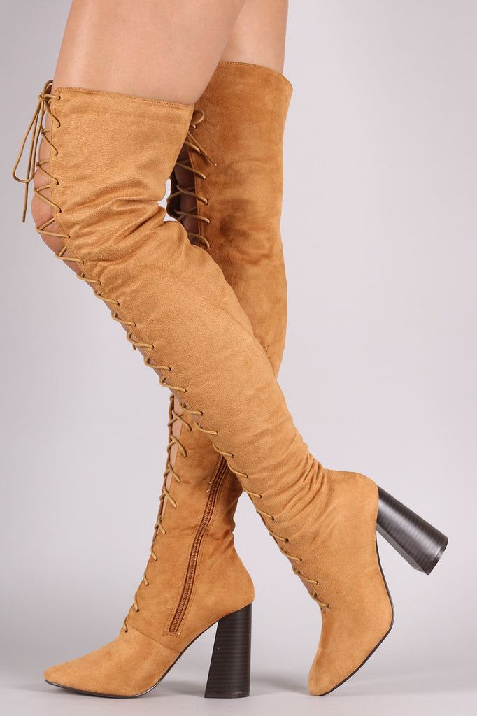 Suede Lace Up Chunky Heeled Over-The-Knee Boots - Rich Girl's Closet - 16