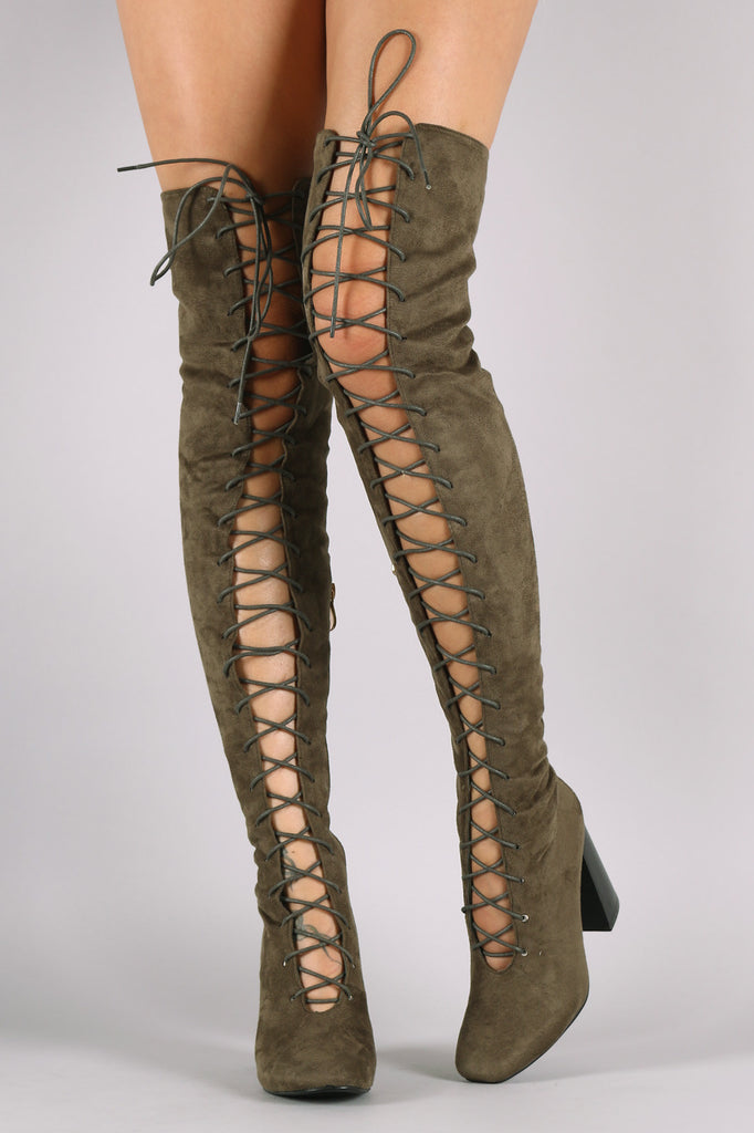 Suede Lace Up Chunky Heeled Over-The-Knee Boots - Rich Girl's Closet - 4
