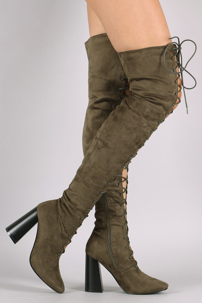 Suede Lace Up Chunky Heeled Over-The-Knee Boots - Rich Girl's Closet - 5