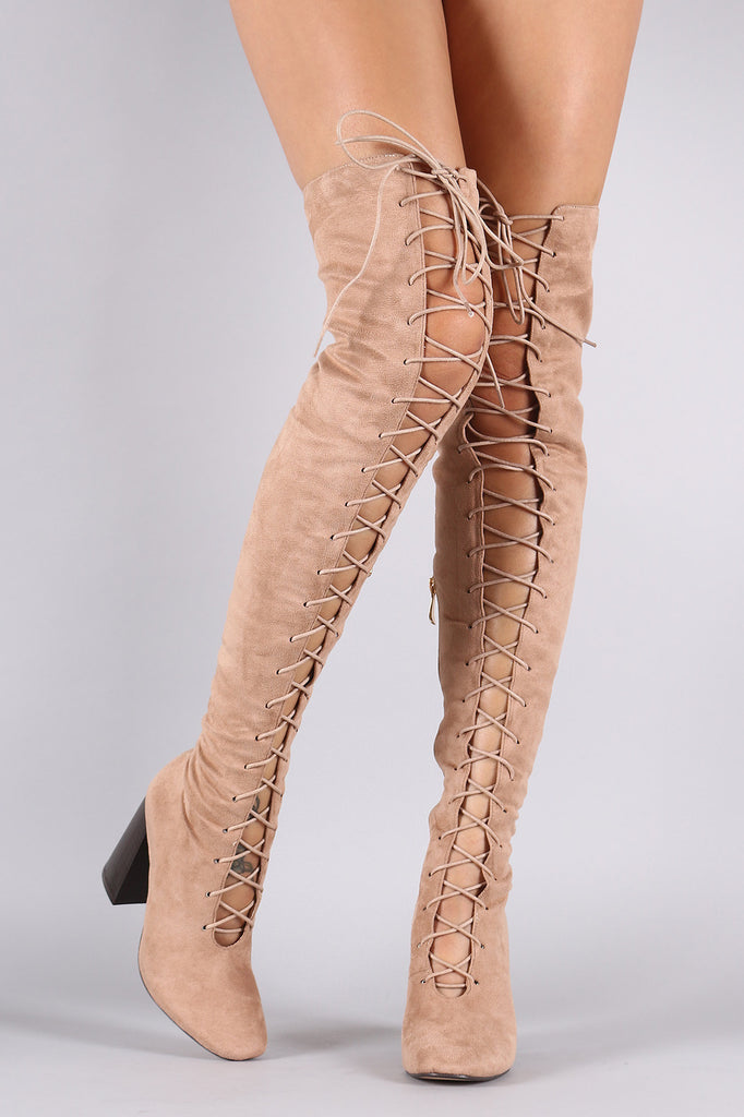 Suede Lace Up Chunky Heeled Over-The-Knee Boots - Rich Girl's Closet - 10