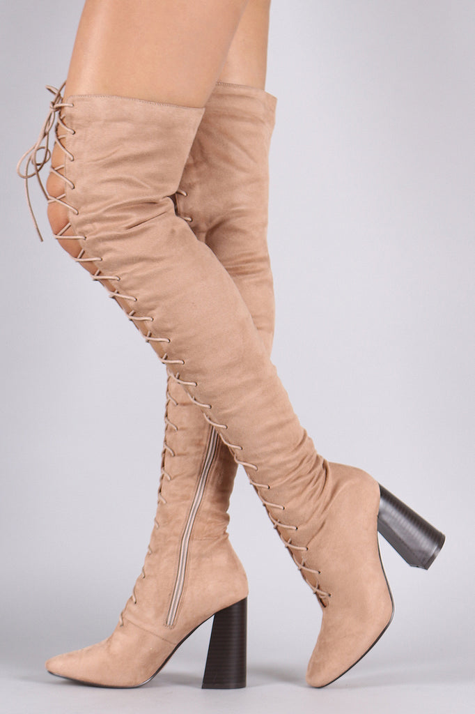 Suede Lace Up Chunky Heeled Over-The-Knee Boots - Rich Girl's Closet - 11