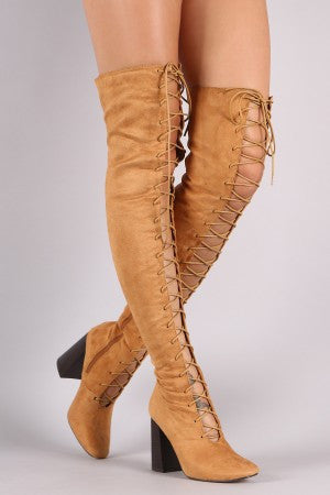 Suede Lace Up Chunky Heeled Over-The-Knee Boots - Rich Girl's Closet - 13