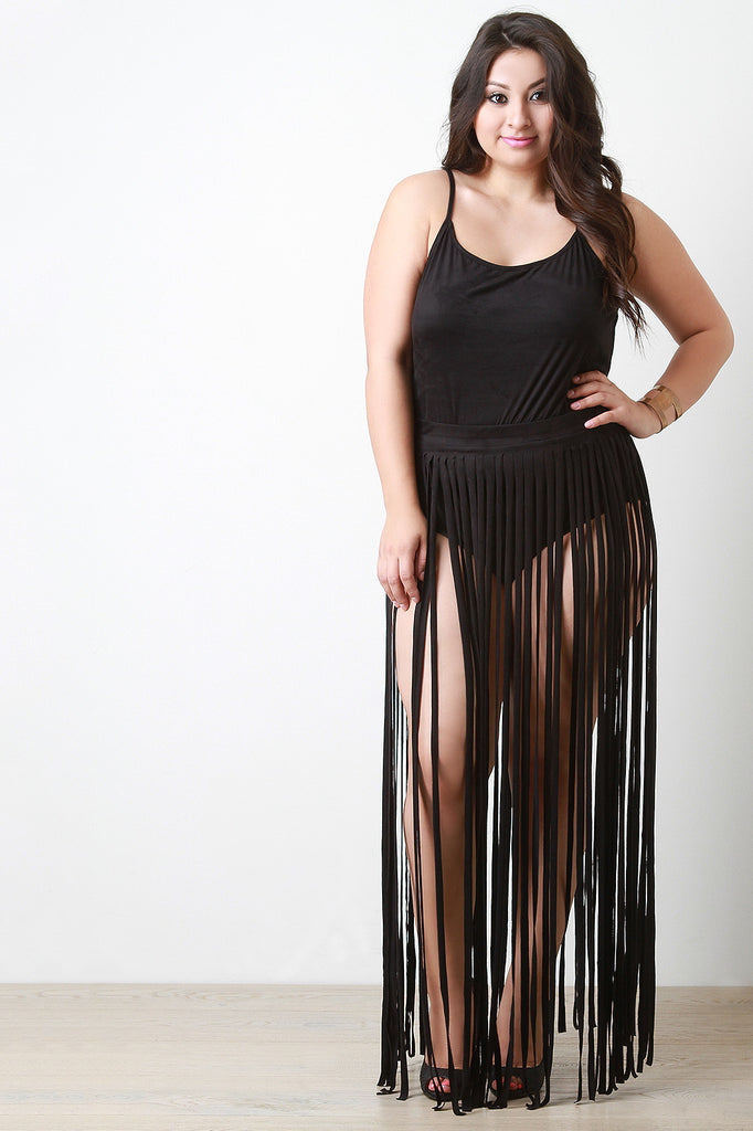 Vegan Suede Two Piece Fringe Maxi Dress - Rich Girl's Closet - 2