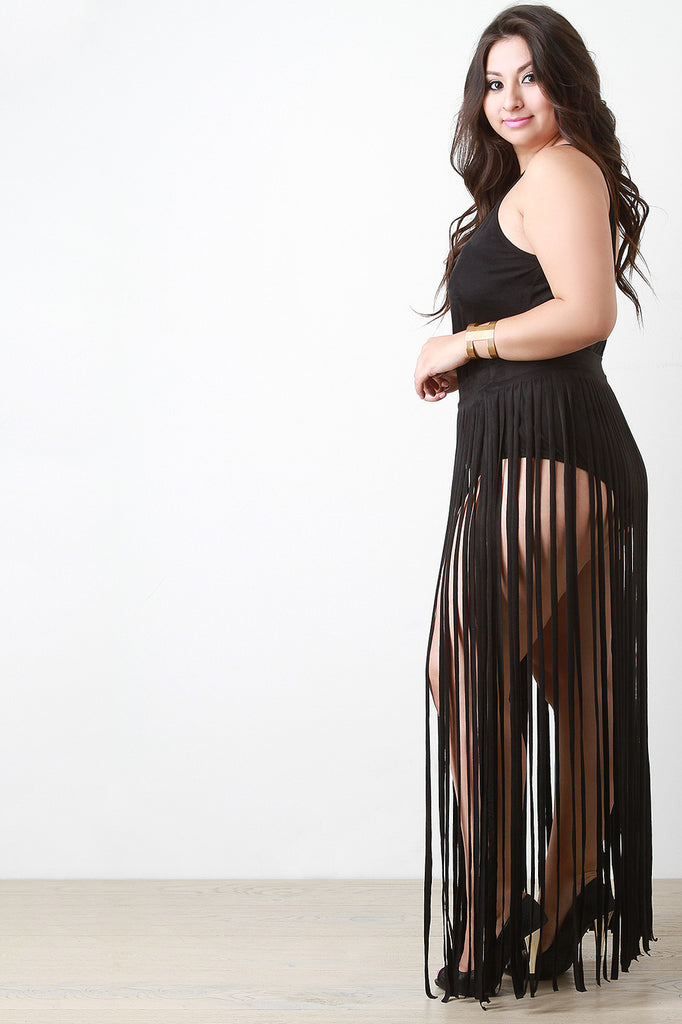 Vegan Suede Two Piece Fringe Maxi Dress - Rich Girl's Closet - 3
