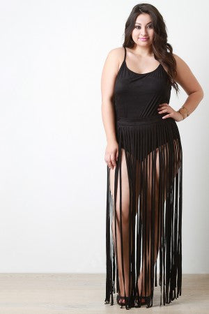 Vegan Suede Two Piece Fringe Maxi Dress - Rich Girl's Closet - 1