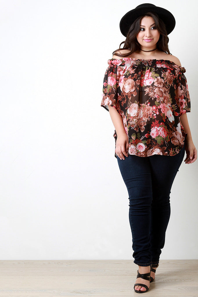 Off The Shoulder Floral Chiffon Top - Rich Girl's Closet - 3