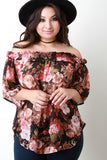 Off The Shoulder Floral Chiffon Top - Rich Girl's Closet - 4