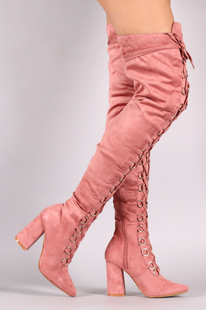 Suede Over The Knee Corset Lace Up Chunky Heel Boots - Rich Girl's Closet - 5