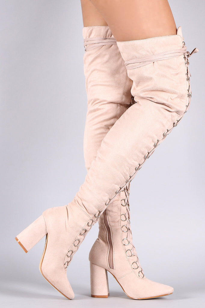 Suede Over The Knee Corset Lace Up Chunky Heel Boots - Rich Girl's Closet - 8