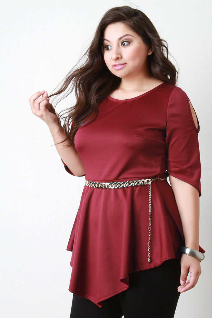 Cold Shoulder Peplum Chain Belted Top - Rich Girl's Closet - 11