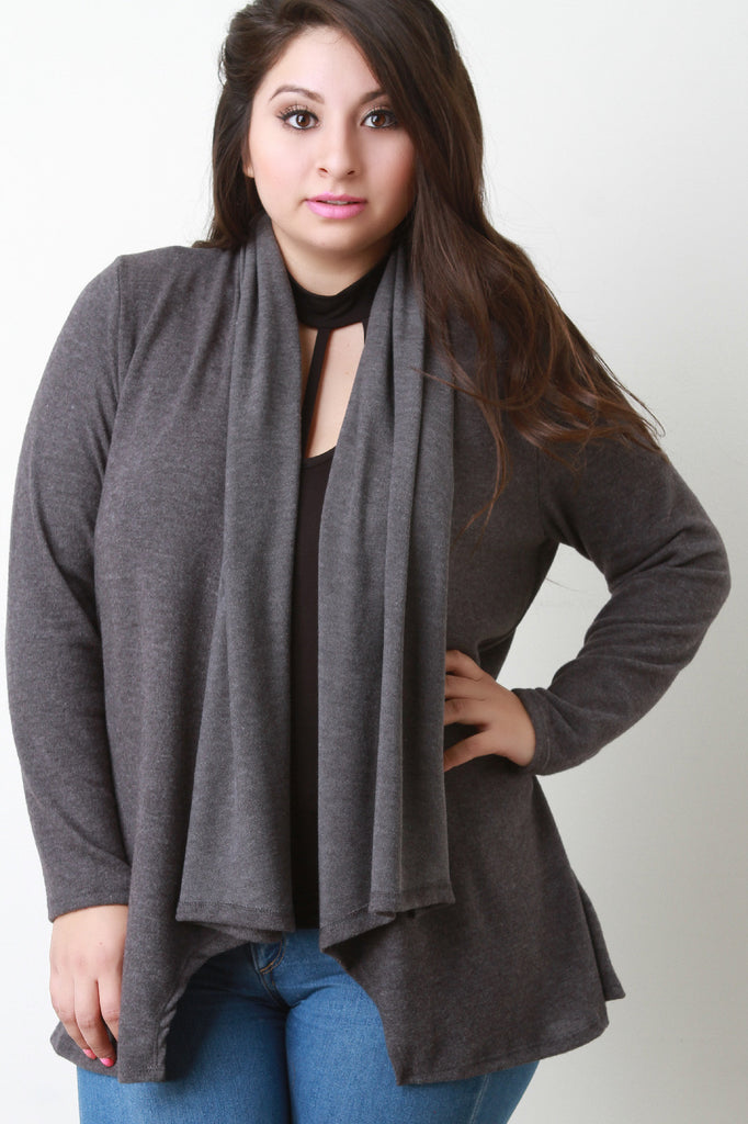Cozy Knit Draped Collar Cardigan - Rich Girl's Closet - 5