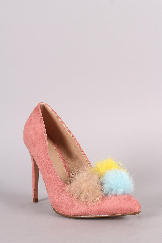 Multi Colored Pom Pom Suede Pointed Toe Heels - Rich Girl's Closet - 7