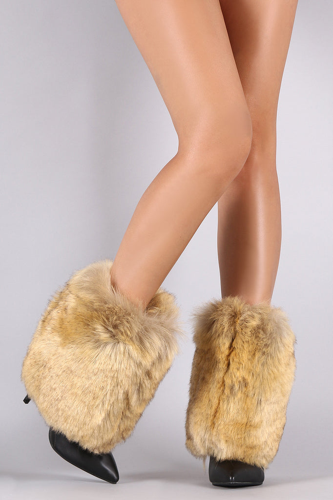 Fold Down Faux Fur Shaft Pointy Toe Stiletto Boots - Rich Girl's Closet - 17