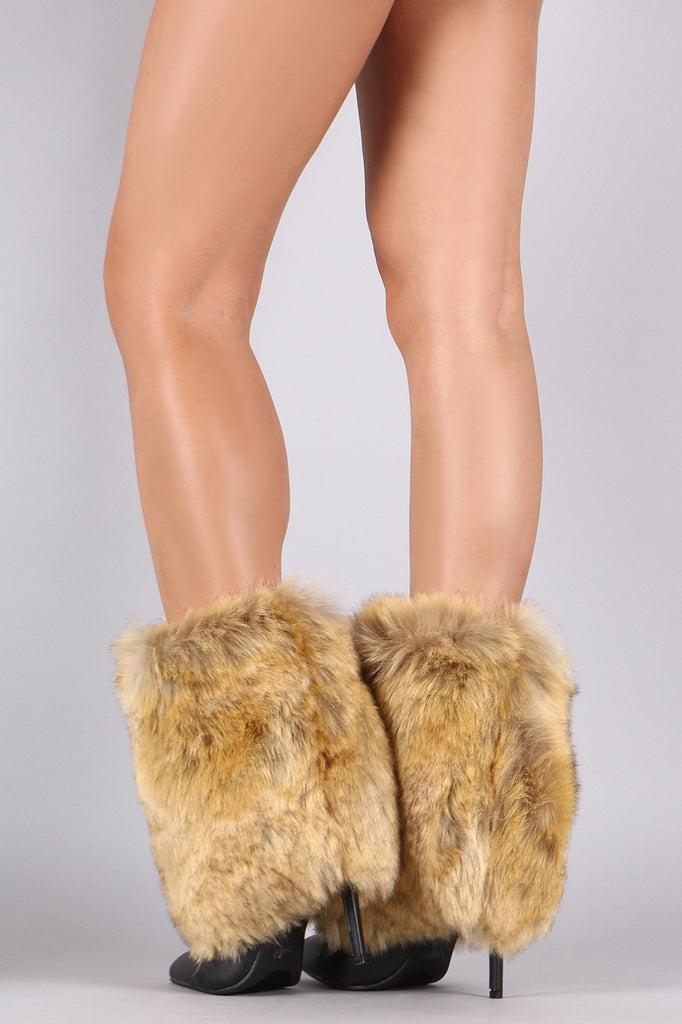 Fold Down Faux Fur Shaft Pointy Toe Stiletto Boots - Rich Girl's Closet - 6