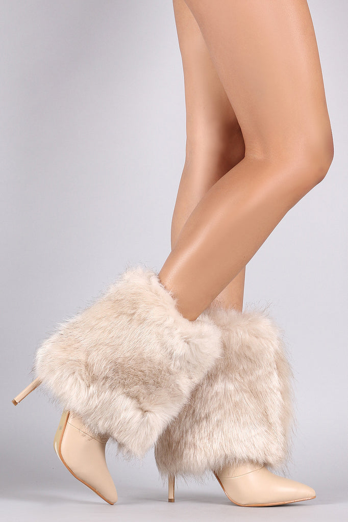 Fold Down Faux Fur Shaft Pointy Toe Stiletto Boots - Rich Girl's Closet - 11