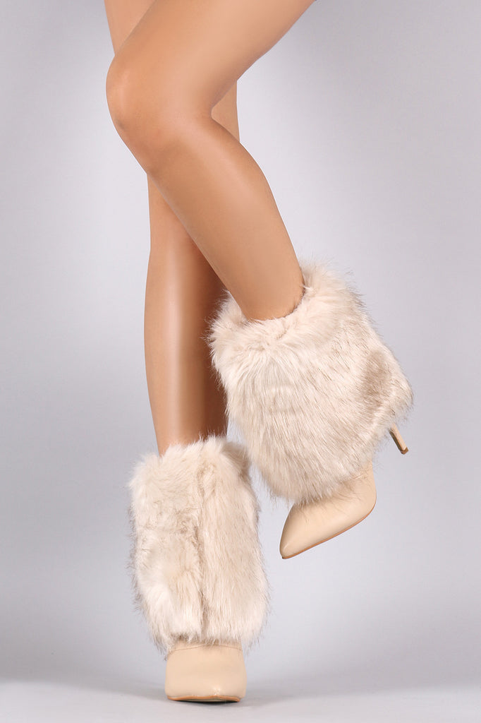 Fold Down Faux Fur Shaft Pointy Toe Stiletto Boots - Rich Girl's Closet - 2