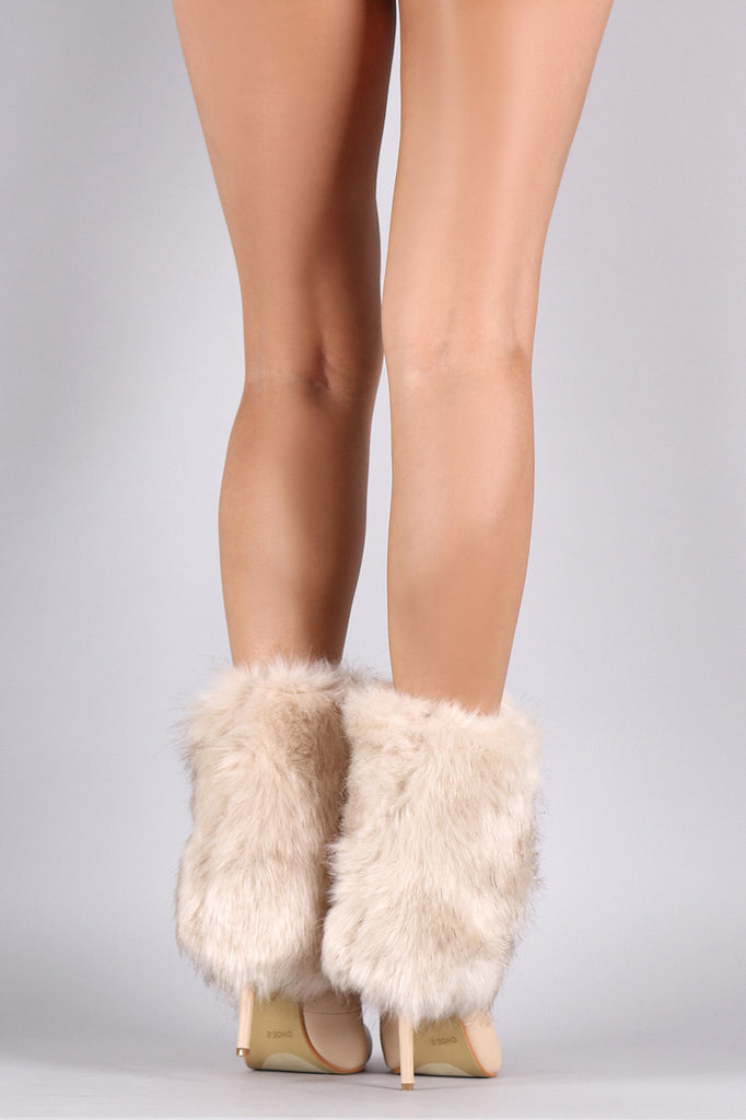 Fold Down Faux Fur Shaft Pointy Toe Stiletto Boots - Rich Girl's Closet - 3