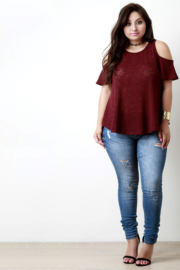 Cold Shoulder Marled Knit Top - Rich Girl's Closet - 16