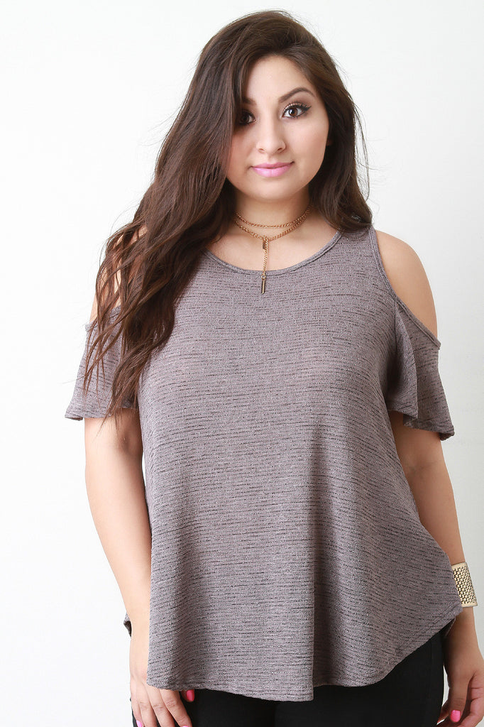 Cold Shoulder Marled Knit Top - Rich Girl's Closet - 1