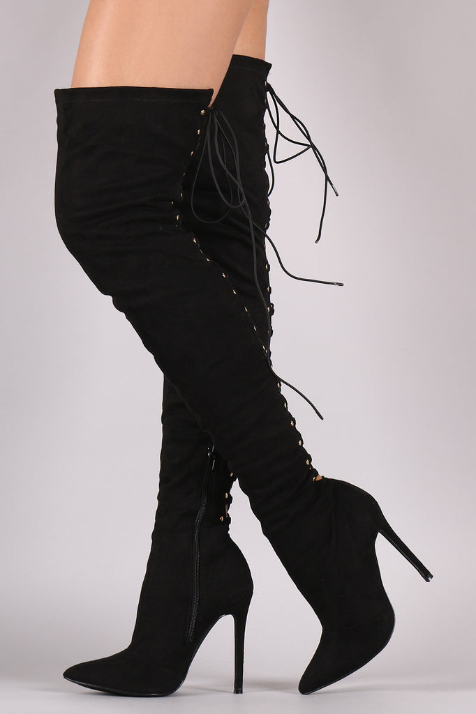 Suede Back Studded Lace Up Pointy Toe Boots - Rich Girl's Closet - 20