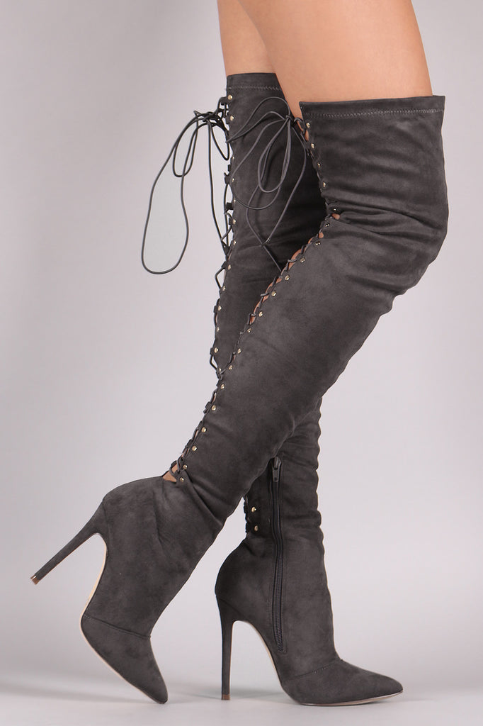 Suede Back Studded Lace Up Pointy Toe Boots - Rich Girl's Closet - 7