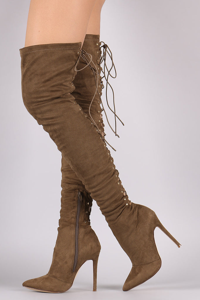 Suede Back Studded Lace Up Pointy Toe Boots - Rich Girl's Closet - 3