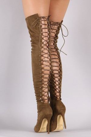 Suede Back Studded Lace Up Pointy Toe Boots - Rich Girl's Closet - 13
