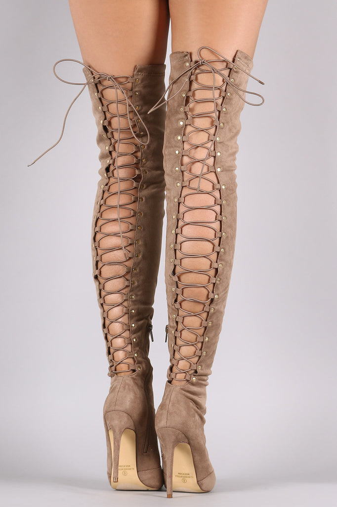 Suede Back Studded Lace Up Pointy Toe Boots - Rich Girl's Closet - 8