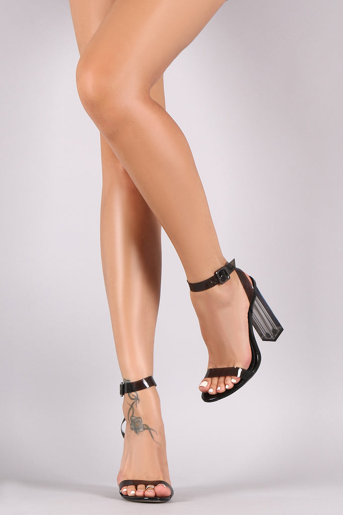 Open Toe Ankle Strap Clear Chunky Heel