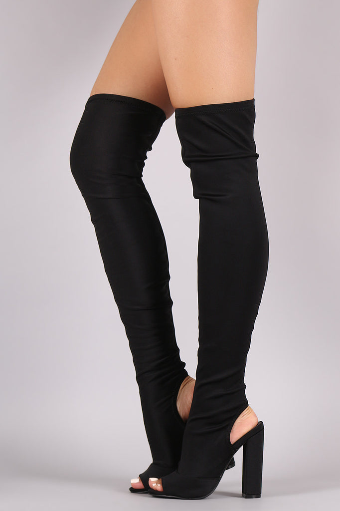 Peep Toe Fitted Chunky Heeled Over The Knee Boots - Rich Girl's Closet - 1
