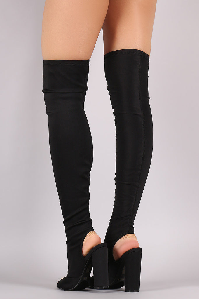 Peep Toe Fitted Chunky Heeled Over The Knee Boots - Rich Girl's Closet - 15