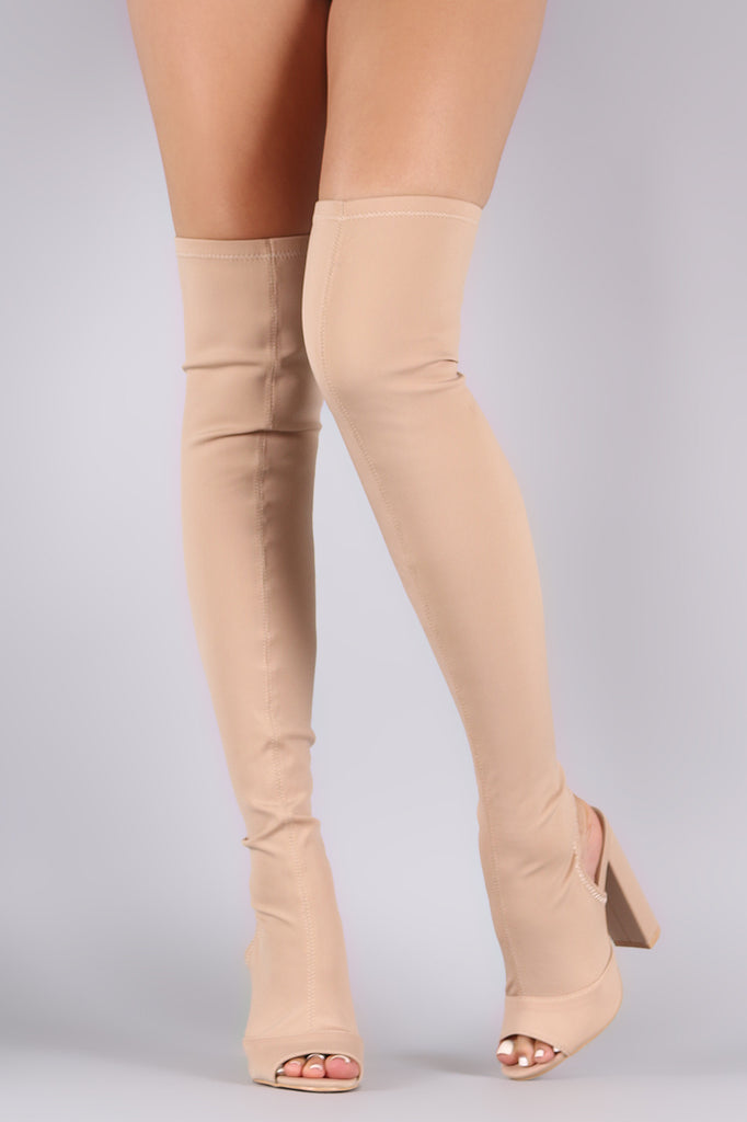 Peep Toe Fitted Chunky Heeled Over The Knee Boots - Rich Girl's Closet - 5