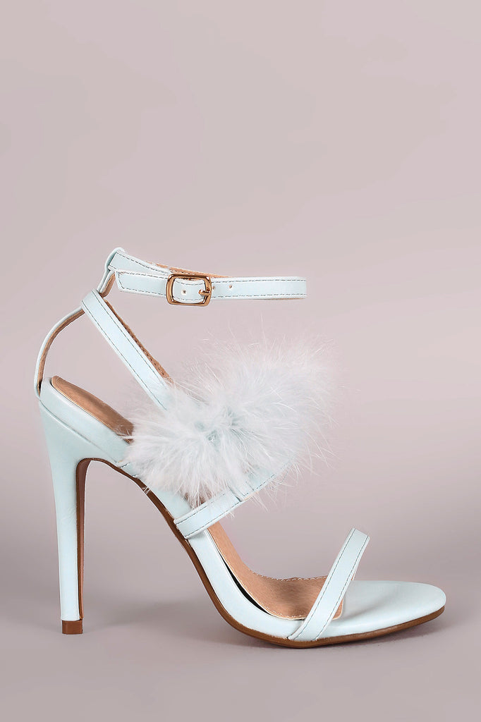 Feather Embellished Ankle Strap Open Toe Heel - Rich Girl's Closet - 4