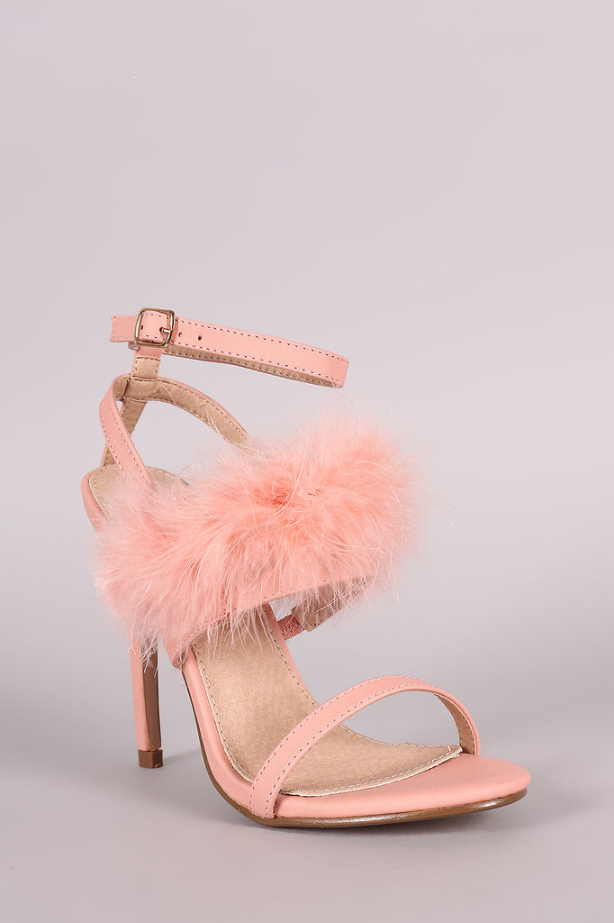 Feather Embellished Ankle Strap Open Toe Heel - Rich Girl's Closet - 2