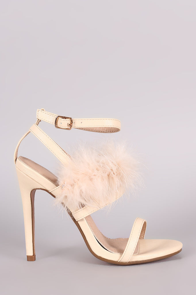 Feather Embellished Ankle Strap Open Toe Heel - Rich Girl's Closet - 7