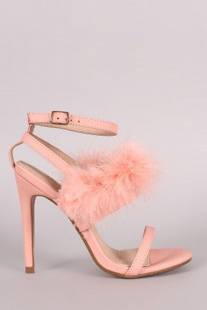 Feather Embellished Ankle Strap Open Toe Heel - Rich Girl's Closet - 13
